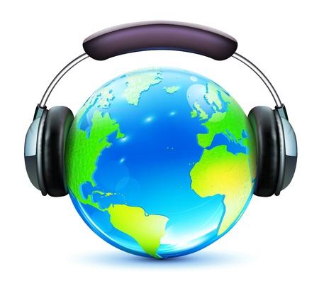 auriculares dj: Vector ilustración de concepto global de la música con los auriculares y la tierra brillante en él
