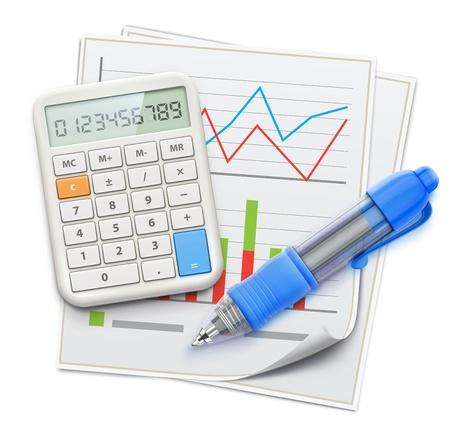Vector illustratie van zakelijk concept met financiën grafieken, blauwe balpen en elektronische rekenmachine Vector Illustratie