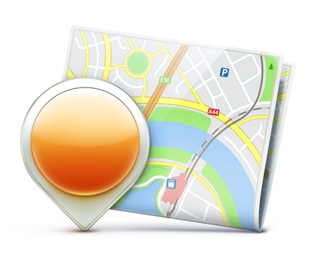 Vector illustration of global navigation concept with city map and glossy location pointer icon Vector