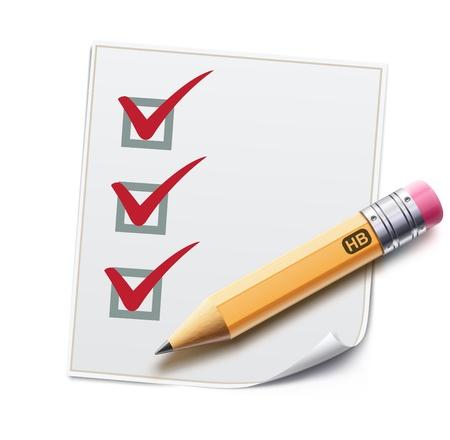 Illustrazione vettoriale di una lista di controllo con una matita dettagliata spuntando compiti