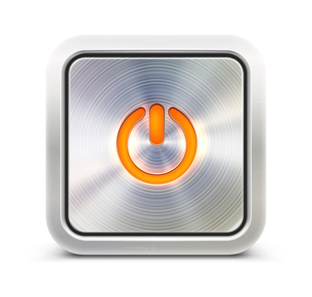 cool off: Vector illustration of the detailed power button in metallic style. Good for your websites, blogs or applications.