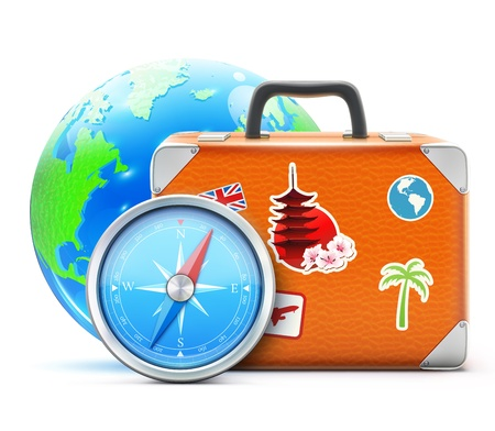 Vector illustration of travel concept with vintage suitcase, blue glossy earth globe and detailed compass