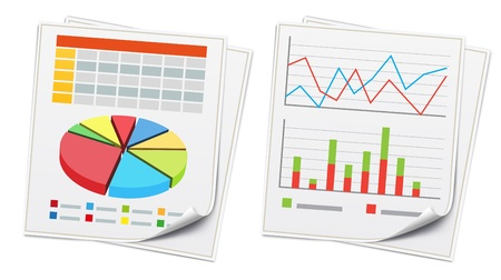 business report:  illustration of business concept with finance graphs