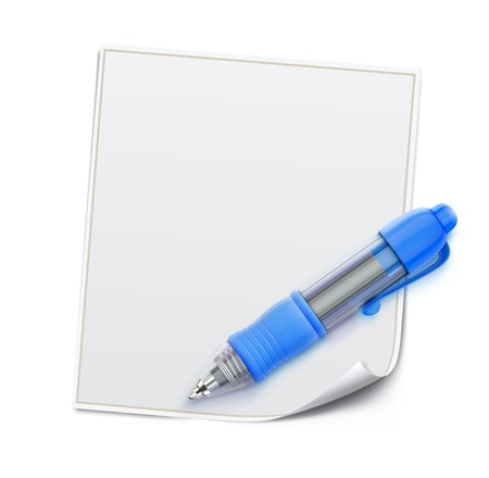 illustration of detailed blue ballpoint pen with blank white page