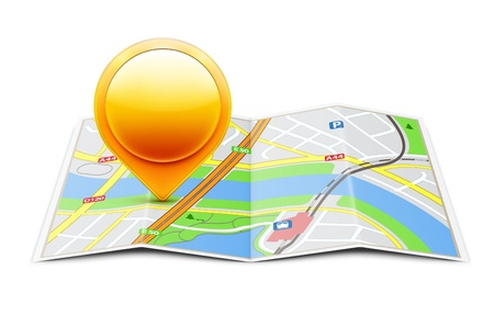 illustration of global navigation concept with city map and glossy location pointer icon on it Stock Illustratie