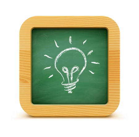 illustration of new idea concept with green blackboard and light bulb Stock Vector - 17969412