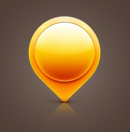 pin entry:  illustration of glossy orange map location pointer icon