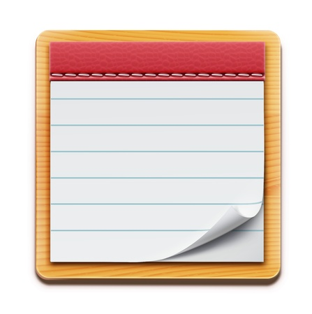 note pad:  illustration of notepad with blank lined pages on white background