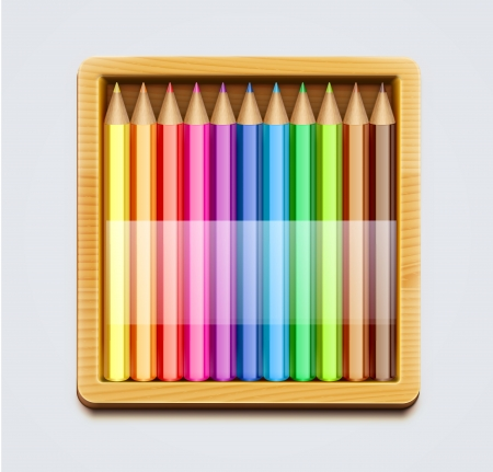 pencil box:  illustration of wooden box of color pencils Illustration