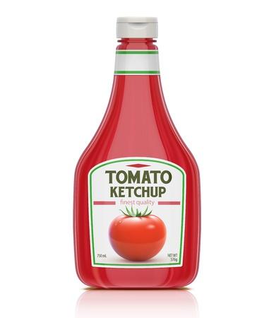 ilustración de la botella de ketchup aislados en fondo blanco