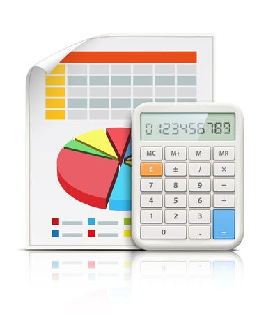 illustration of business concept with finance graphs and electronic calculator Illustration