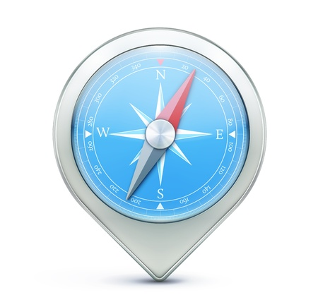 illustration of highly detailed blue compass as map location pointer icon