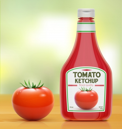 illustration of ketchup bottle and fresh tomato on wooden kitchen table