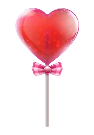 illustration of red heart shaped candy lollipop isolated on white background Stock Vector - 18406010