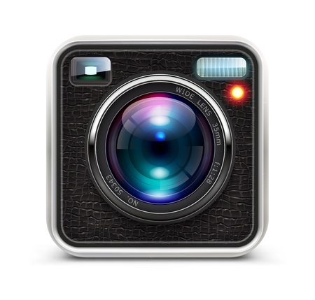 photo icons: illustration of detailed icon representing cool photo camera with lens
