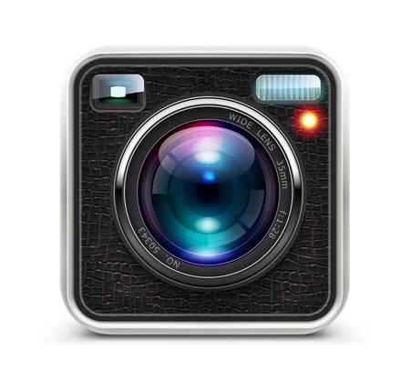 camara: ilustraci�n del icono detallado fresco que representa c�mara de fotos con lente Vectores