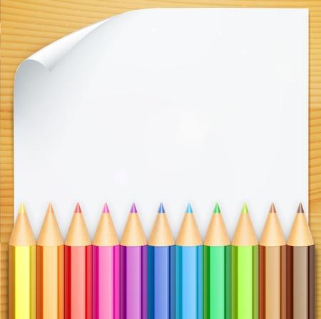 knutsel spullen: illustratie van kleur potloden en witte blanco papier op de tafel Stock Illustratie