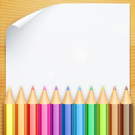 pencil symbol: illustration of color pencils and white blank paper on the table