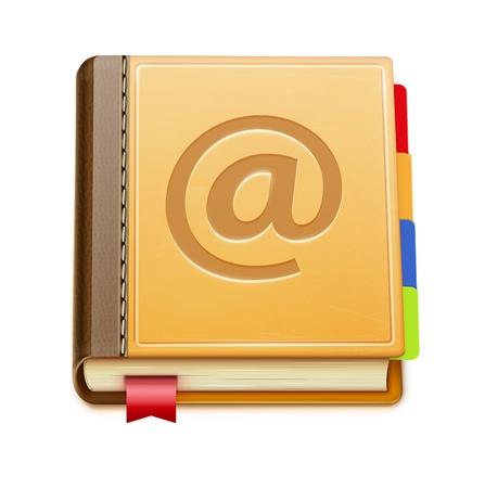 contact icon: illustratie van gedetailleerde adresboek pictogram op een witte achtergrond Stock Illustratie