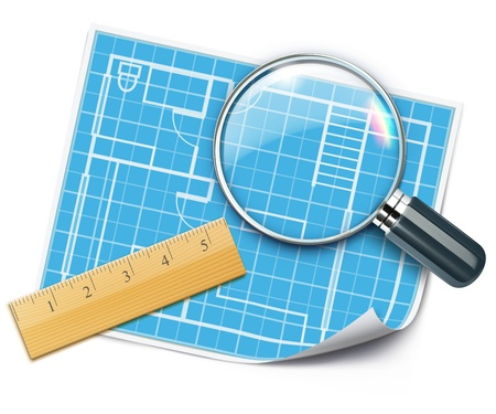 plan maison: illustration de la maison concept de planification de la mise en page avec plan de maison architecture, r�gle en bois et loupe sur elle