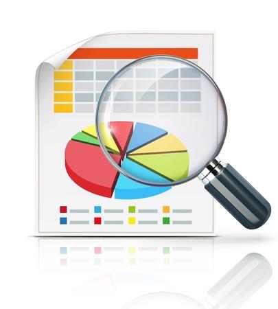 lupa: Ilustraci�n del concepto de negocio con gr�ficos de finanzas y lupa