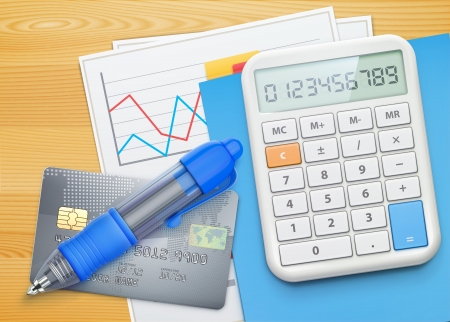 calculator money: illustration of business concept with finance graphs, credit card, blue ballpoint pen and electronic calculator