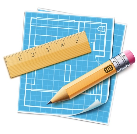 paper art projects: illustration of house layout planning concept with architecture house plan, wooden ruler and sharpened yellow pencil over it