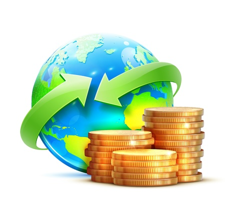 illustration of global money transfer concept with blue glossy earth globe and golden coins isolated on a white background