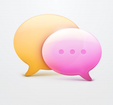 chat room: illustration of two speech bubble web icons with chat room internet sign