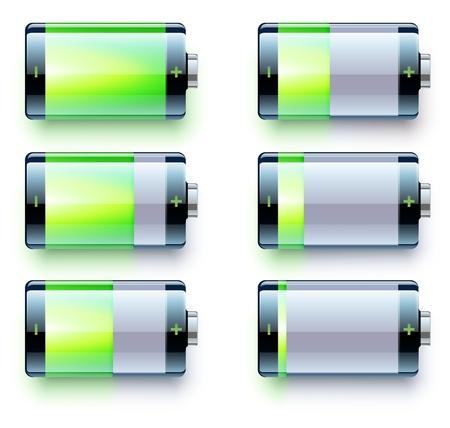 capacitance: illustration of detailed glossy battery level indicator icons