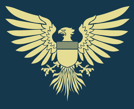 Vector illustration of coat-of-arms shield with Medieval Eagle of my own design Illustration