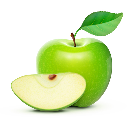 Vector illustration of detailed big shiny green apple Çizim