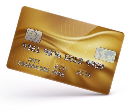 Vector Illustration der ausführlichen glatten Goldkreditkarte, die auf weißem Hintergrund lokalisiert wird Vektorgrafik