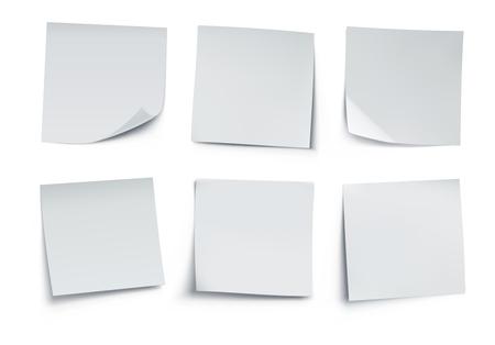 Vector illustratie van witte post het notities geïsoleerd op een witte achtergrond. Vector Illustratie