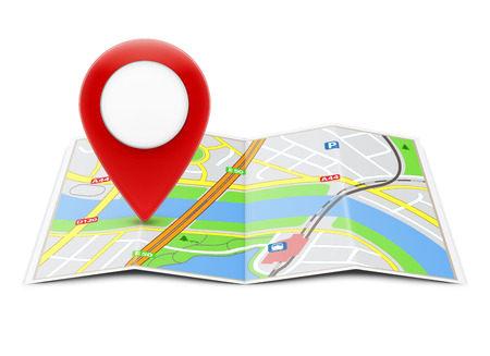 global positioning system: Vector illustration of global navigation concept with city map and glossy location pointer icon on it