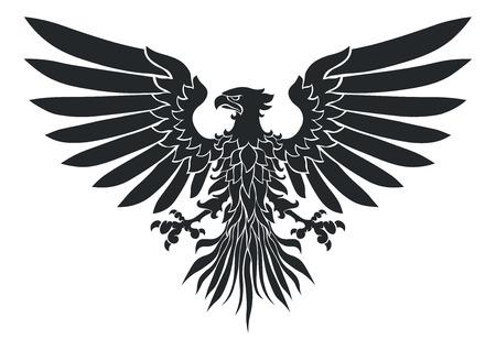 Ilustración vectorial de escudo de armas de aves, Medieval Eagle de mi propio diseño