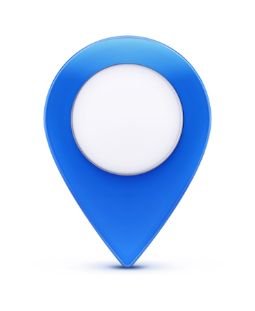 Vector illustration of glossy blue map location pointer icon