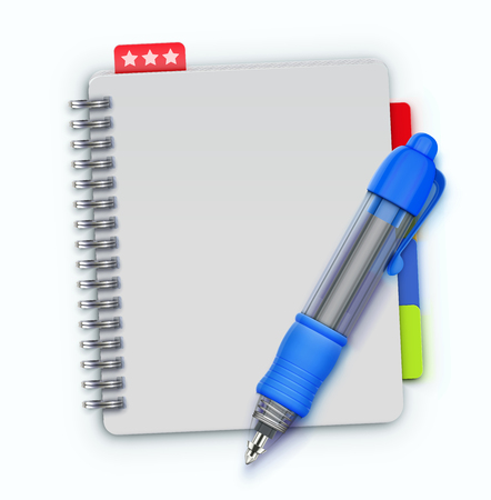notebook: Vector illustration of realistic spiral notebook and detailed blue ballpoint pen