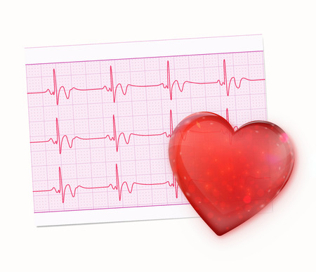 red shape: Vector illustration of red heart shape with Electrocardiogram Record Paper Illustration