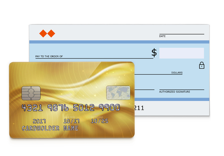 Vector illustration of business concept with bank check and detailed glossy gold credit card