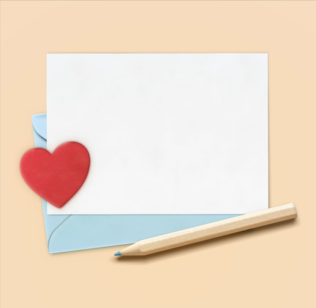 Vector illustration of love letter concept with little wooden pencil, blue envelope and white paper with big red heart