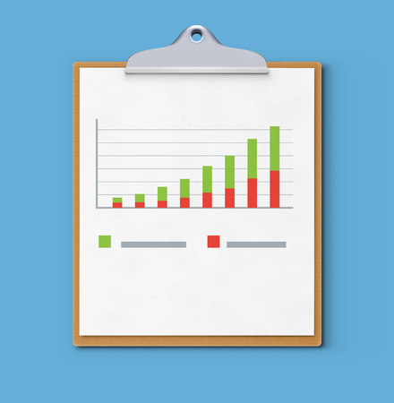 Vector illustration of business concept with clipboard, finance graph or productivity chart