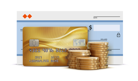 Vector illustration of business concept with bank check, detailed glossy gold credit card and stacks of golden coins