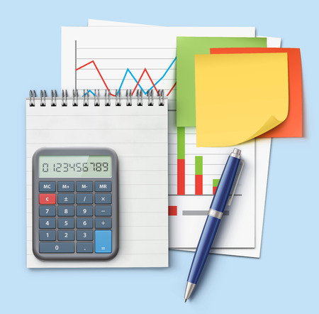 Vector illustration of business concept with finance graphs, productivity chart, blue ballpoint pen, coil bound notebook, electronic calculator and multicolor post it notes Illustration
