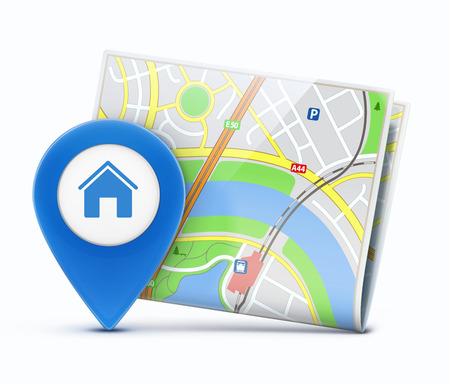 finding: Vector illustration of global navigation concept with city map and glossy location pointer with house icon
