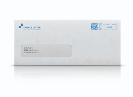 Vector illustration of closed white envelope for letters and documents with transparent window and post stamps isolated on white background. Mockup post envelope. Illustration