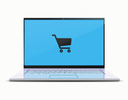 Vector illustration of online shopping concept with modern laptop Illustration
