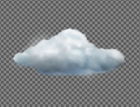 Vector illustration of cool single weather icon with cloud floats in the sky isolated on transparent background