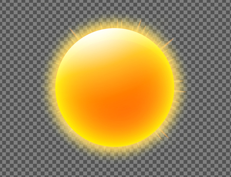 Vector illustration of cool single weather icon with shiny sun isolated on transparent background Illustration