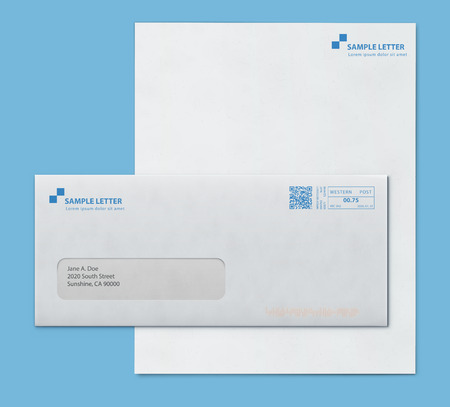 Vector illustration of a closed white envelope for letters and documents with transparent window and corporate letterhead blank paper isolated on blue background. Mockup post envelope and letter paper template Illustration